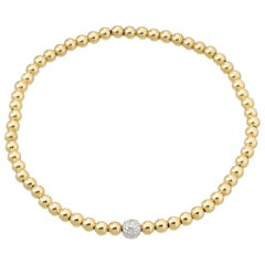 14 Karat Gold Bead Bracelet with Diamond Bead