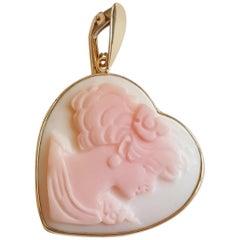 14 Karat Gold Bezel Heart Pink Shell Cameo Pendant, Designer M+M Scognamiglio
