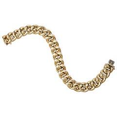 14 Karat Gold Big Chain Hollow Link Bracelet