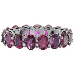 14 Karat Gold Black Rhodium and Ruby Eternity Band Ring
