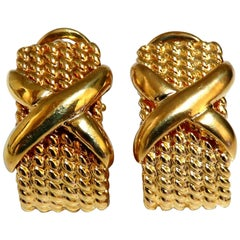 14 Karat Gold Braid Semi Hoop X-Clip Earrings