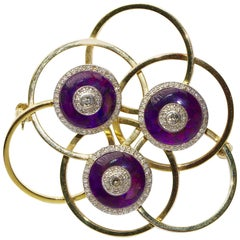 14 Karat Gold Brooch with Amethysts and Diamonds, Art Deco Style