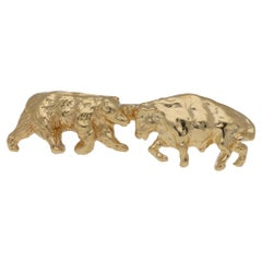 Bull and Bear Tie Pin 14 Karat Gold
