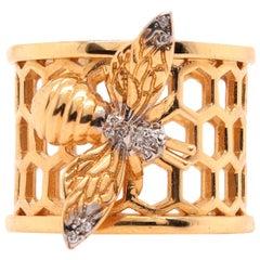 14 Karat Gold Bumble Bee Honeycomb and Diamond Cocktail Ring 14 Karat Gold