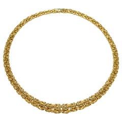 14 Karat Gold Byzantine Tapered Necklace