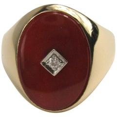 14 Karat Gold Carnelian Signet Ring Diamond Center Midcentury Unisex