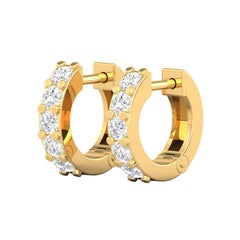 14 Karat Gold Cartilage Diamond Hoop Earrings