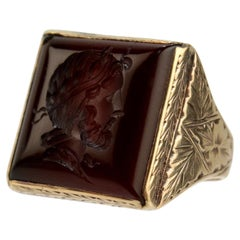 14 Karat Gold Carved Carnelian Intaglio Signet Ring with a Roman Bust