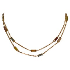14 Karat Gold Chain Necklace with Multi Colored Stone Baguettes
