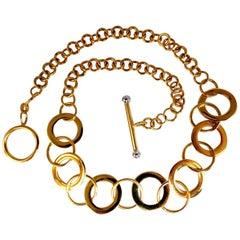 14 Karat Gold Circles Toggle Link Necklace