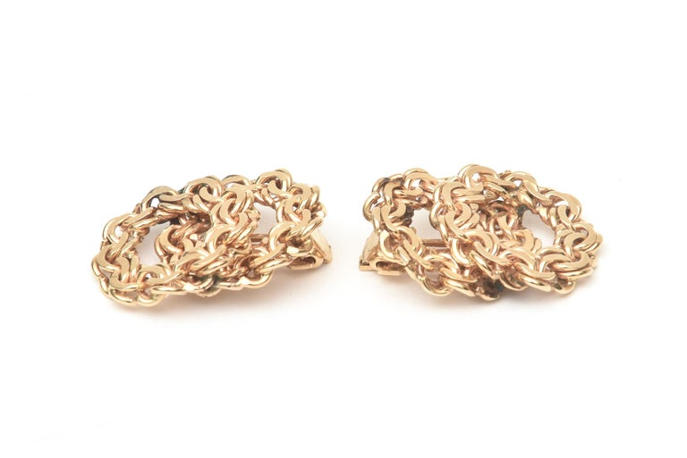 Modern 14 Karat Gold Clip-On Earrings Vintage For Sale