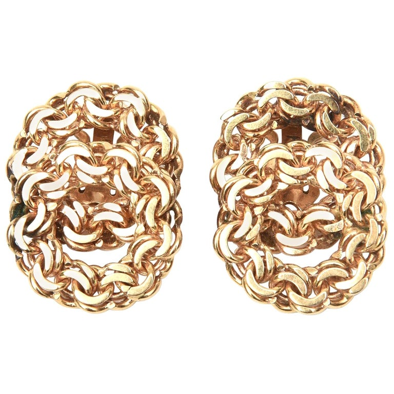 14 Karat Gold Clip-On Earrings Vintage For Sale