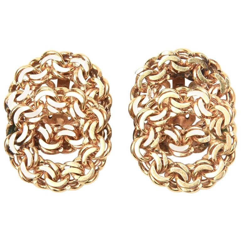 14 Karat Gold Clip-On Earrings Vintage For Sale