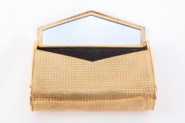 Italian 14-Karat Gold Clutch Purse with Diamonds For Sale