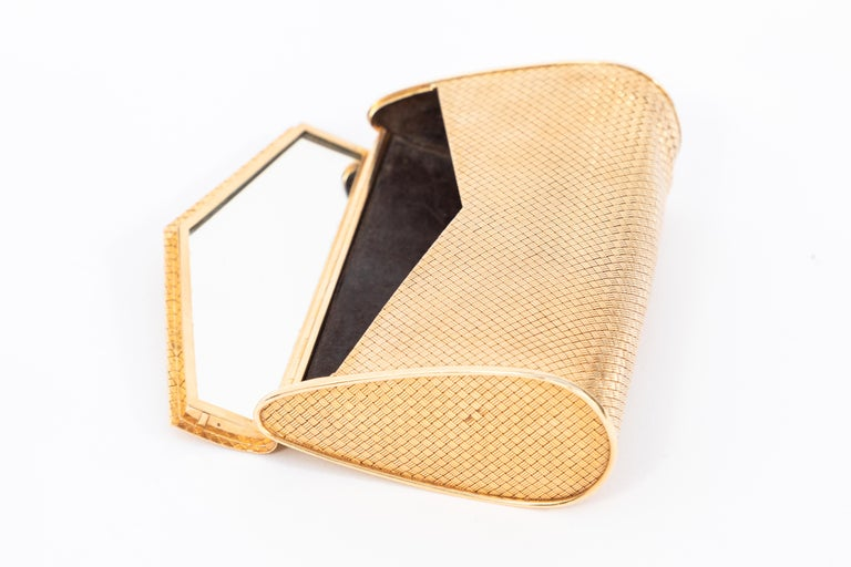 Hand-Crafted 14-Karat Gold Clutch Purse with Diamonds For Sale
