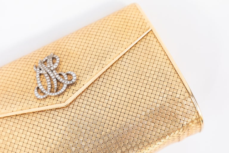 14-Karat Gold Clutch Purse with Diamonds For Sale 3