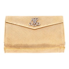 14-Karat Gold Clutch Purse with Diamonds