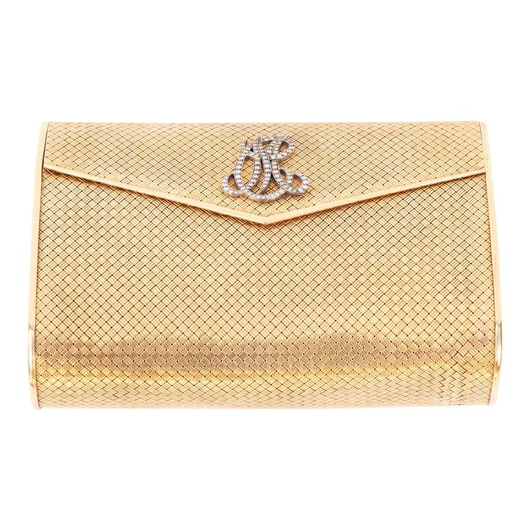 14-Karat Gold Clutch Purse with Diamonds For Sale