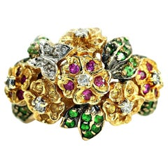 14 Karat Gold Cocktail Ring with Tsavorite, Pink and Yellow Sapphire Gemstones