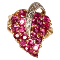 14 Karat Gold Contemporary Style Diamond and Ruby Ring