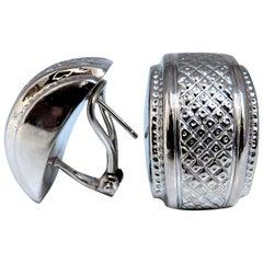 14 Karat Gold Cross Hatch Textured Clip Earrings