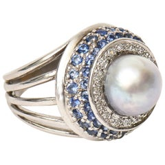 14 Karat Gold, Cultured Pearl, Diamond and Sapphire Dome Cocktail Ring Vintage