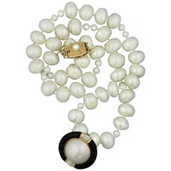 14 Karat Gold, Cultured Pearl, Mabé Pearl, Onyx and Diamond Necklace