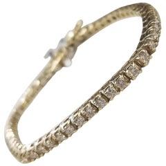 14 Karat Gold Custom Made Tennis Bracelet with 54 Round Diamonds 3.24 Carat
