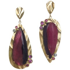 14 Karat Gold Dangle Earrings with 17.2 Carat Bi-Color Pink Tourmaline