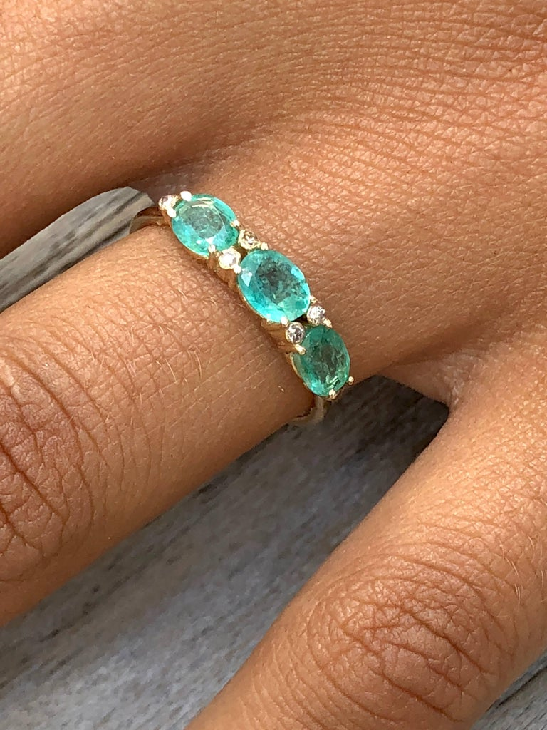 Women's 14 Karat Gold Diamond and 3 Oval Emerald Engagement Ring  For Sale
