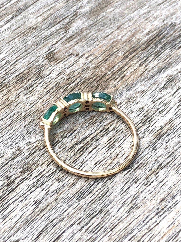 14 Karat Gold Diamond and 3 Oval Emerald Engagement Ring  For Sale 1