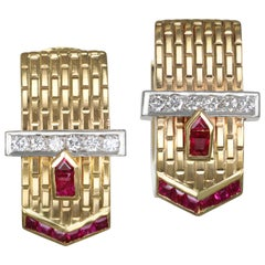 14 Karat Gold Diamond and Ruby Buckle Ear Clips