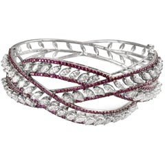 14 Karat Gold, Diamond and Ruby Cuff, Contemporary