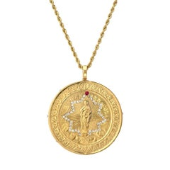 14 Karat Gold, Diamond, and Ruby Immaculate Mary Medallion Cast from Antique