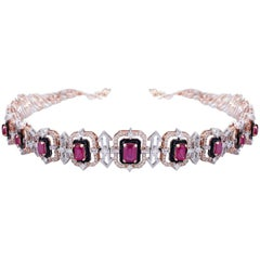 14 Karat Gold, Diamond and Ruby Necklace-Choker with Earrings