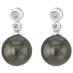 14 Karat Gold Diamond and South Sea Tahitian Convertible Cultured Pearl Earrings