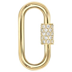 14 Karat Gold Diamond Carabiner