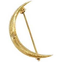 14 Karat Gold Diamond Crescent Moon Brooch/Pin