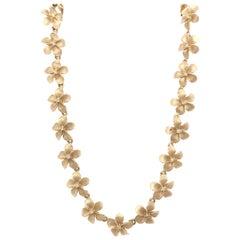 14 Karat Gold Diamond Flower Chain Necklace