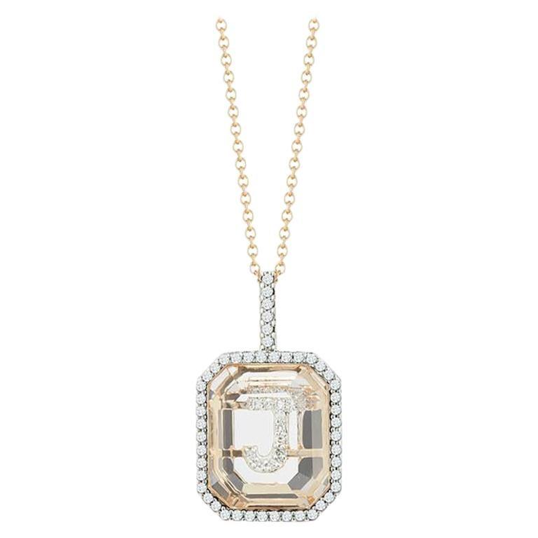14 Karat Gold Diamond Frame Crystal Quartz Secret Diamond Initial Necklace For Sale