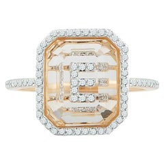 14 Karat Gold Diamond Frame Crystal Quartz Secret Diamond Initial Ring