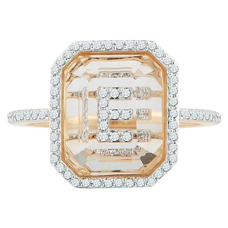 14 Karat Gold Diamond Frame Crystal Quartz Secret Diamond Initial Ring For Sale