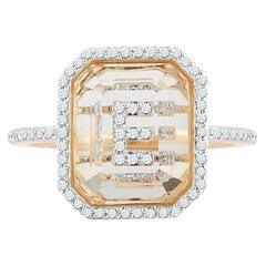 14 Karat Gold Diamond Frame Crystal Quartz Secret Diamond Initial Ring