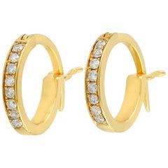 14 Karat Gold Diamond Gold Huggie Hoop Earrings