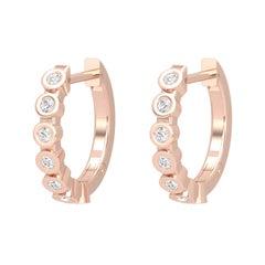14 Karat Gold Diamond Huggie Hoop Earrings