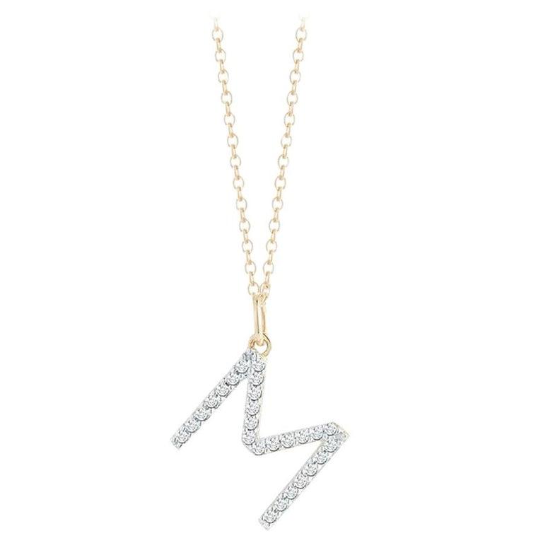 14 Karat Gold Diamond Initial Necklace For Sale