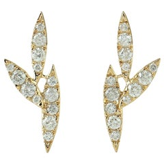 14 Karat Gold Diamond Leaf Stud Earrings