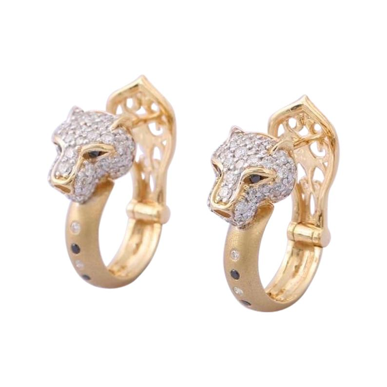 14 Karat Gold Diamond Panther Huggie Hoop Earrings