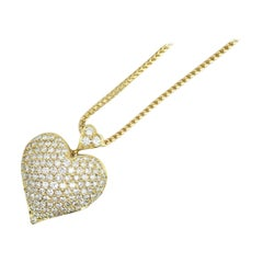 "14 Karat Gold Diamond Pave Heart, Containing 2.50 Carat S Color ""D"", Clarity VS2"