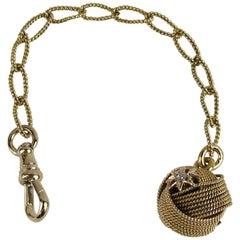 14 Karat Gold Diamond Pocket Watch Chain Fob Pendant